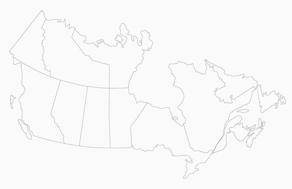 Map of Canada with Pinchin Locations