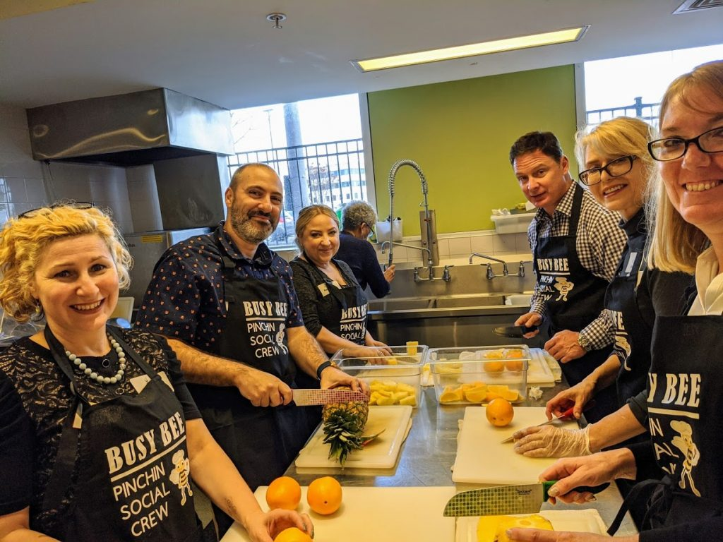 Pinchin Team at work in the Ronald McDonald House kitchen